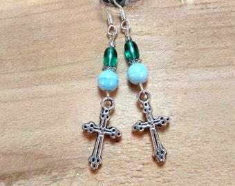 Blue Green Silver Cross Sterling Silver Earrings, Silver Cross Earrings, Blue Green Cross Sterling Silver Earrings