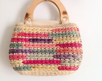 Vintage Weaved Thatched Colorful Purse with Wooden Handles // 1990s