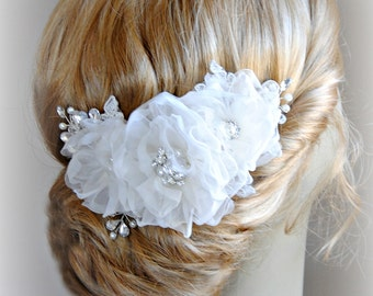 Ivory Wedding Hair Flowers, Bridal Hair Piece, Head Piece, Crystals, Pearls, Silver, Gold, Rose Gold - ECHO