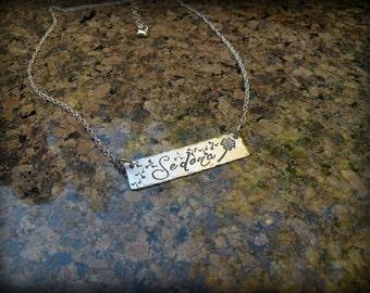 Dandelion name necklace, Sterling silver dandelion necklace