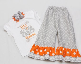 Big Sister Shirt and Matching Ruffle Pants - With Coordinating Hairbow - Grey Quatrefoil and Orange Arrows