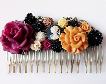 Flower Hair Comb, Wine Red, Gold, Ivory & Black Cameo Hair Comb, Lady Cameo Bridal Hair Piece, Decorative Comb, Bridesmaid Gift Hair Flowers