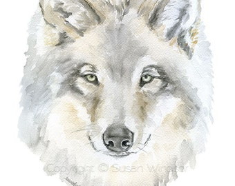 Grey Wolf Watercolor Painting 4x6 Fine Art Giclee Reproduction - Woodland Animal Wildlife Print