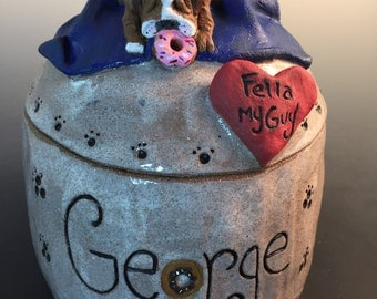 Dog Urn, Pet Urn, Custom Dog Urn, Custom Pet Urn- Additional Decoration and Glaze Made to Order Any Breed