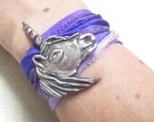 Silk Wrap Bracelet, Unicorn Dreams Bracelet, Purple Silk Bracelet, Unicorn Bracelet, Sterling Silver Bracelet, Wrap Bracelet, Boho Bracelet
