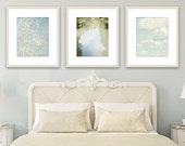 Nature wall art bedroom decor nature photography set of 3 abstract art light blue wall art living room wall decor fine art photography