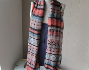 80s Southwest Scarf Long Scarf with Tribal Pattern Soft viscose fabric Extra long scarf