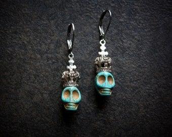 Turquoise Skull Earrings Silver Crown Day of the Dead Dia de los Muertos Halloween Vintage Antique  Boho Voodoo Tiny Skully Halloween