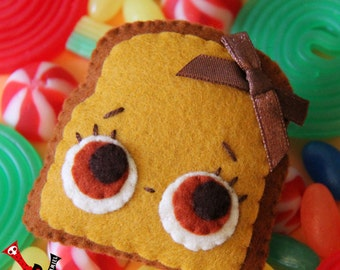 Toast felt brooch kawaii food