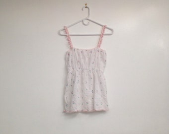 Beautiful Vintage Ethereal Semi Sheer White Floral Puffball Lingerie Camisole
