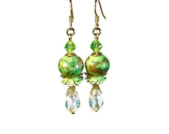 Sparkly Light Green Dangle  Earrings, Floral, Vintage Inspired Jewelry
