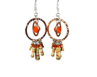 Upcycled  Resistors Orange Dangle Earrings  in Copper and Silver
