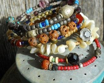 Boho Tribal Tradebead Stack Wrap Beaded Bracelets Bangles