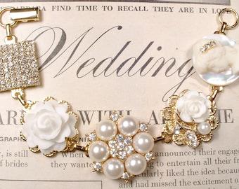 Ivory Pearl Rhinestone Gold Bridal Bracelet, OOAK Vintage Cluster Earring Bracelet Bridesmaid Wedding Gift Modern Something Old Romantic