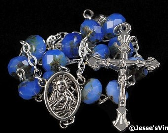 Auto Rosary Pocket Blue Opal Czech Picasso Bead 1 Decade Silver