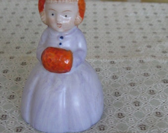 Vintage Ceramic Girl Bell Hand Figurine Decor