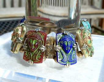 King Tut Czech Egyptian Revival Bracelet Pharoah Book Chain Rare Vintage 1930's Unique