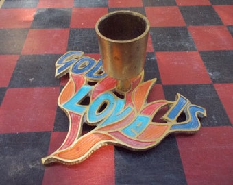 """Vintage Terra Sancta Israel Cast Metal """"God Is Love"""" Candle Holder"""