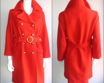 60s vintage red wool coat mod bond girl