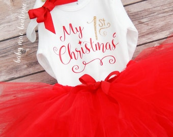 Baby Girl Christmas Outfit, My Christmas Outfit, Gold Glitter Oneise, 1st Christmas Tutu, babys christmas outfit, baby girl dress