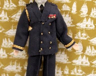 Vintage Miniature Sea Captain Doll Nautical Heritage House Dollhouse Accessory