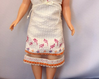 Fashion Doll Original Clothes Summer Dress Vintage Barbie Cissette Madame Alexander White Orange Searsucker