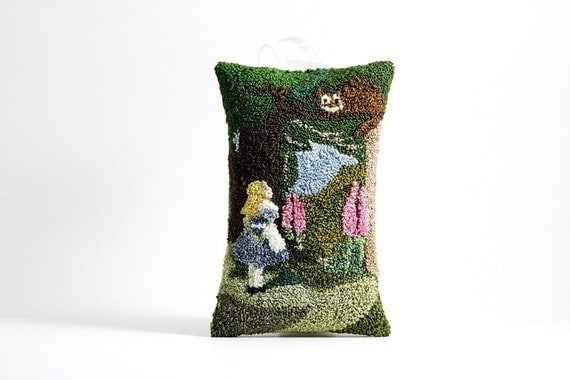Ready to Ship! Alice in Wonderland Hanging Sachet. Punch Needle Embroidery. Spring Home Decor. Forest Green, Pink. by HarpandThistle