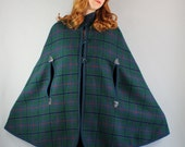 Vintage 70s 1970s Women's Deep Teal Blue Green Plaid Wool Fall Winter Reversible Cape Coat
