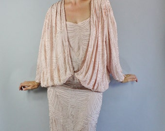 Vintage 80s does 20s Blush Pale Pink Beaded Flapper Style Wedding Long Sleeve Beaded Gown Formal Dress // Art Deco Style