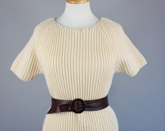 Vintage 60s Women's Cream Ribbed Wool Short Sleeve Wear to Work Pullover Sweater