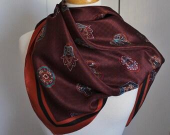 Vintage 80s Women's Anne Klein Designer Brown Paisley Boho Bohemian Fall Fashion Large Square Silk Scarf
