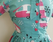 50's style Summer Holiday Cotton Dress, camper, Pinup, vintage reproduction, novelty print