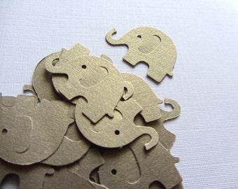 Gold Leaf Wedding Elephant Die Cuts - Wedding Table Confetti - Baby Shower Animal Decoration - Paper elephants - Gold leaf color baby shower