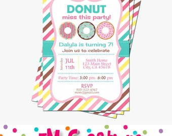 Donut Party Invitation - Donut Birthday Party Invitation - Doughnut Printable Invitation