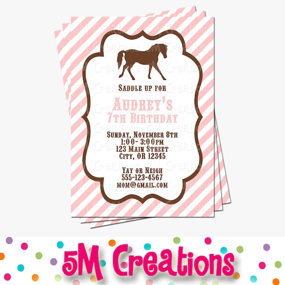 pony party invitation  horse birthday invitations  cowgirl, little pony party invitations, personalised pony party invitations, pony birthday party invitations