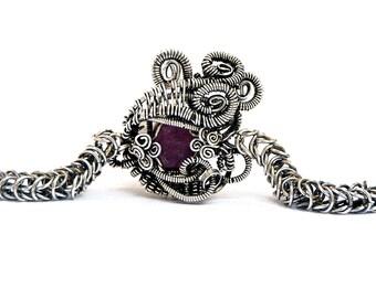 Ruby Bracelet, Chainmaille Bracelet, Wire Wrapped Stone, Raw Ruby Bracelet, Gemstone Bracelet, Silver Chain Bracelet, Steampunk Bracelet
