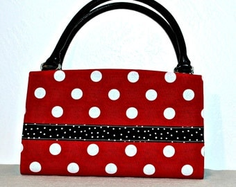 Red with White Polka Dots with  Black Polka Dot Ribbon Magnetic Bag Shell Cover
