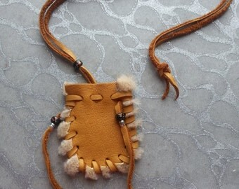 Elk Skin Medicine Bag - Handsewn - First Nations  North American Indian - Natural Light Brown Un-dyed Elk leather with Light Brown Seal Fur