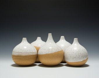 Handmade Stoneware Weeble Weed Pot Vases with White Glaze