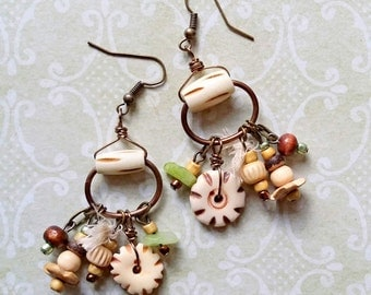 Winter Canyon - Rustic, Tribal, Primitive, Bohemian, Assemblage Earrings.