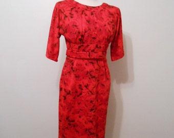 Vintage 1950's Dress 50's RED Dress Floral Dress Red Orange Black Dress Curvy Wiggle Dress Inset Waist Pencil Skirt xs s small BAD POPPY