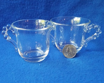 Vintage Imperial Candlewick Clear Glass Sugar Bowl and Cream Pitcher