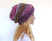 Chunky knit hat Slouchy Beanie Slouch hat Colorful Women hat Winter hat