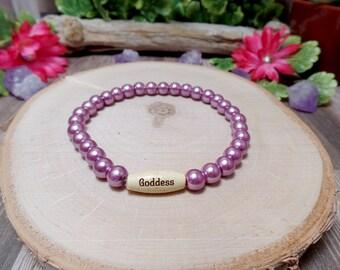 Goddess Bracelet - Goddess Stretch Bracelet - Pearl Bracelet