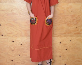 Vintage 70's Caftan Dress Brick Red Boho Style With Unique Ethnic Detail Size S