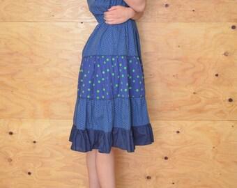 Vintage 50's Retro Blue And Green Polka Dot Day Dress SZ M