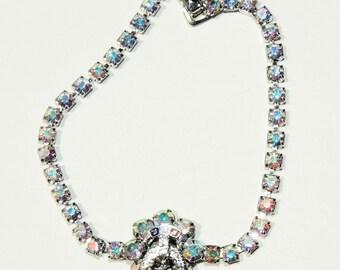 Fraternal Order of Eagles AB Rhinestone Bracelet Hollywood Vintage Jewelry