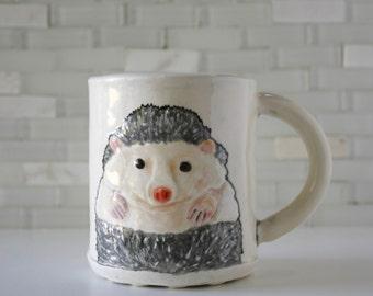 Hedgehog Mug | ceramic hand-built coffee mug tea cup | woodland animal hedgie | salt and pepper colored | cute gift | made to order