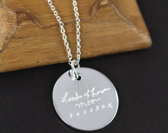 Engraved Handwriting Jewelry Pendant Necklace,  Mother's Day Gift , 925 Sterling Silver
