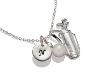 Golf necklace etsy golf necklace personalized golfer jewelry golf lover initial necklace golfer necklace sterling silver aloadofball Images
